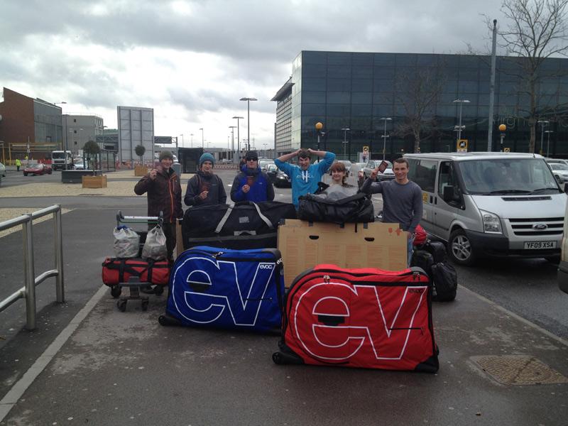 TrekCo climbing and biking team at Heathrow