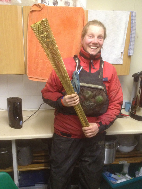 Vicky, Chief Instructor, with the torch
